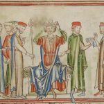 13th Century image of Harold Godwinson, Claimant to the Throne, being crowned King of England in early 1066