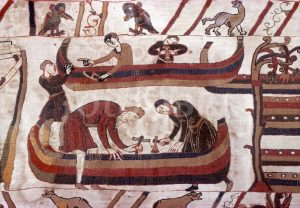 Bayeux Tapestry shows ships being built in preparation for the Norman Invasion
