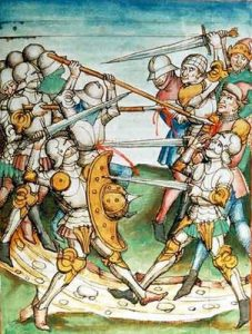 Image of a late Medieval Battle similar to that at Edgecote Moor