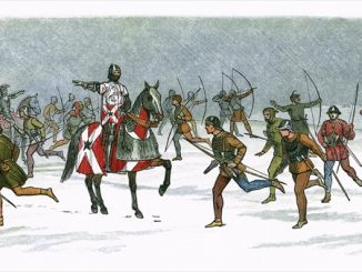 William Neville directing archers in the snow and blizzard at the Battle of Towton