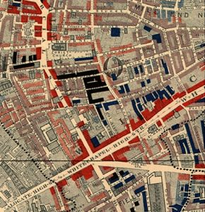 By Charles Booth - http://www.umich.edu/~risotto/maxzooms/ne/nej56.html (cropped). Original: Charles Booth's Labour and Life of the People. Volume 1: East London (London: Macmillan, 1889)., Public Domain, https://commons.wikimedia.org/w/index.php?curid=9361611