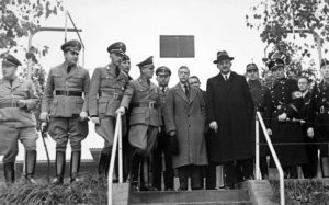 Edward, Duke of Windsor, with Nazi dignitaries whilst on his 1937 visit.