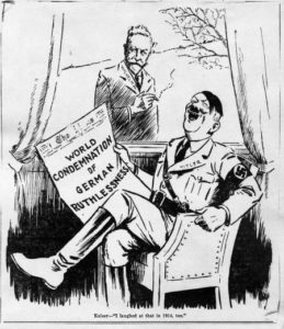 "Anti-Nazi caricature of Wilhelm II and Hitler. Titled ""I laughed at that in 1914, too"" and published by the New York Times on 20 November 1938."