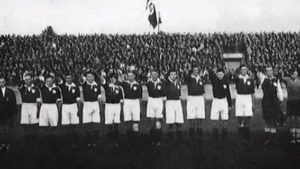 In 1938 the German National team played in Ireland. They and many dignitaries performed the Nazi Salute during the anthems. At the return fixture in 1939, the Republic of Ireland team also performed the Nazi Salute.