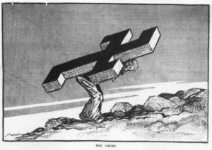 "Anti-Nazi cartoon depicting a German Jew carrying the swastika on his back. Titled ""The Cross"" and published by New Zealand Herald on 17 November 1938."